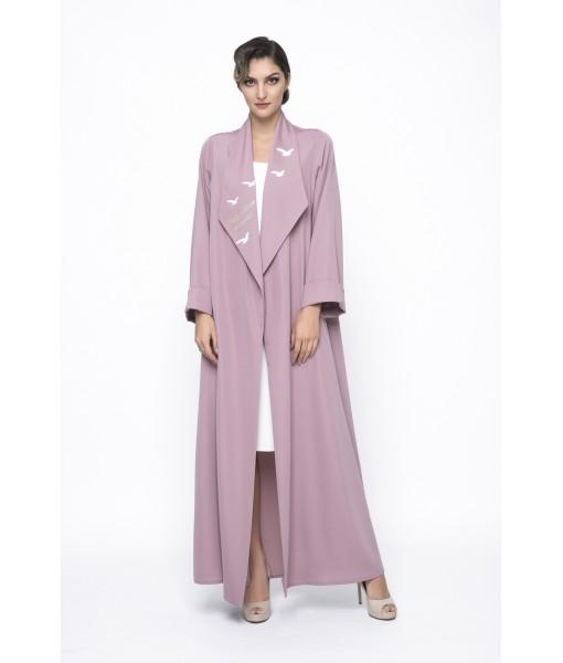 Pink open collar abaya with bird's ...