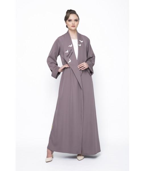 mocha open collar abaya with bird's ...