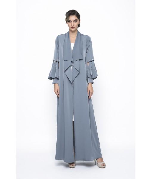 Teal waterfall collar abaya with cutout ...