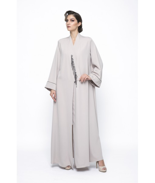 beige kimono style abaya with embroidered ...