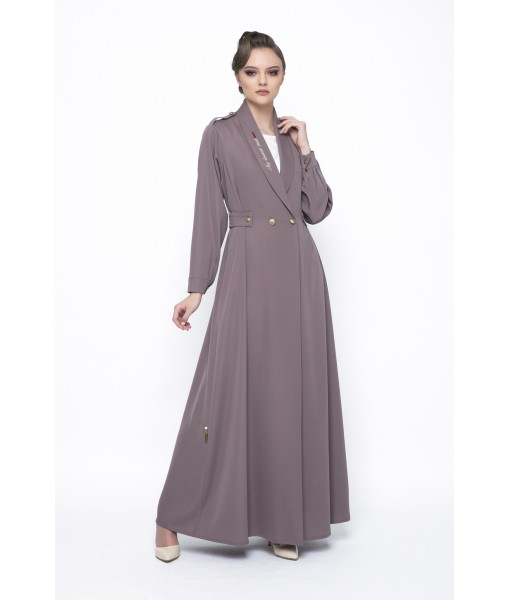 Mocha coat style abaya with embroidery ...