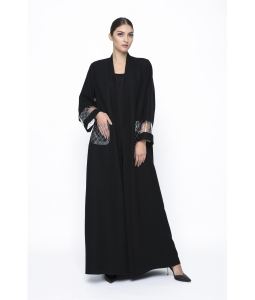 Black straight cut abaya with PVC ...