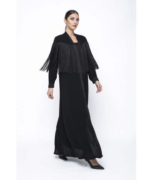 Classic cut black abaya with fringe ...