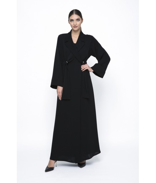 Faux double breasted abaya with metal ...