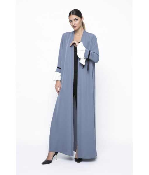 Grey abaya with contrasting fluted cuff ...