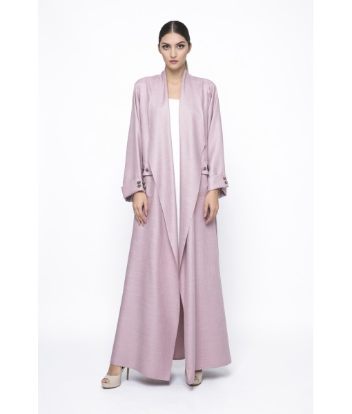 Pink waterfall collar abaya with metal ...