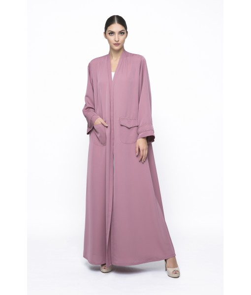 Dusty pink classic abaya with studded ...