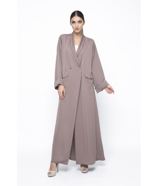 Brown coat style abaya with pocket ...
