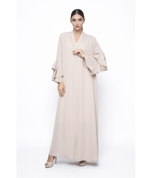 Beige ruffle sleeves abaya