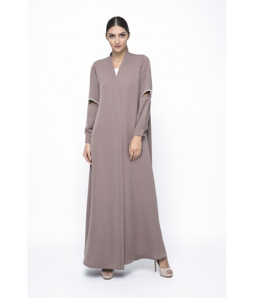 Light Taupe abaya with cut out ...