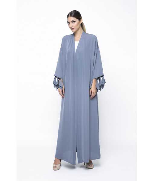 Grey abaya with cut out sleeve ...