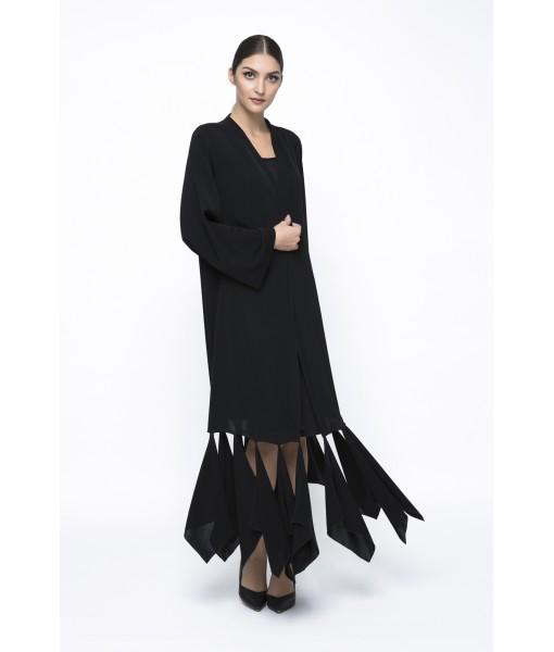 Black abaya with cut out hem ...