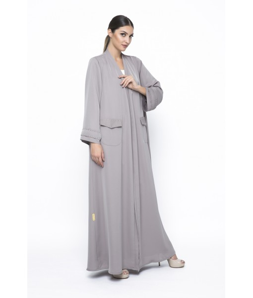 Khaki classic abaya with studded pockets ...
