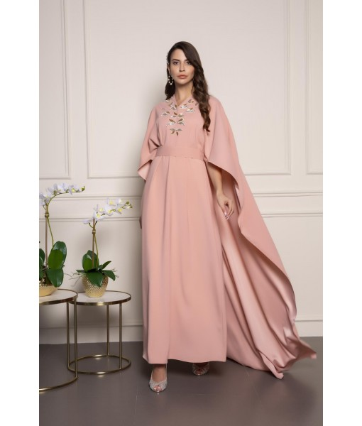 Blush pink cape kaftan wi...