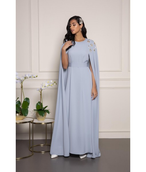 Baby blue cape kaftan wit...