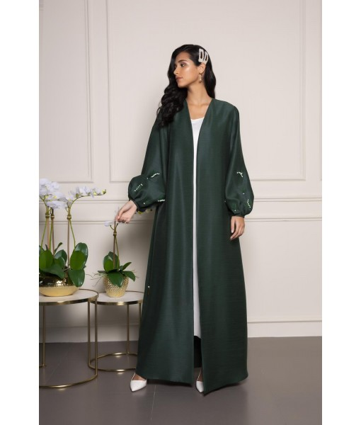 Dark green abaya with puff sleeves ...