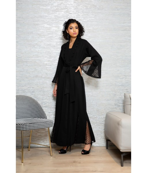 Black abaya with flared tulle ...