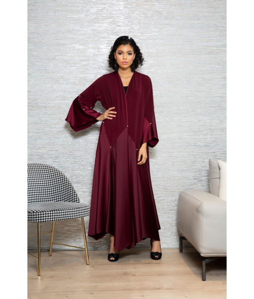 Maroon abaya with flared panel