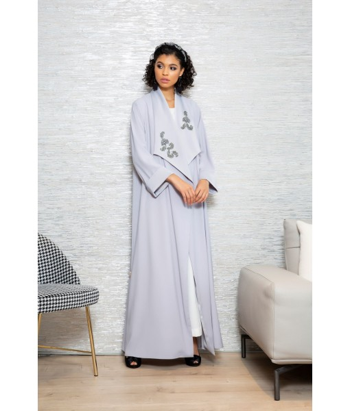 Gray abaya with wide embellished collar. ...