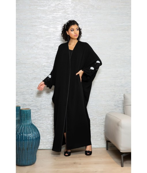 Classic black farasha abaya with embellished ...