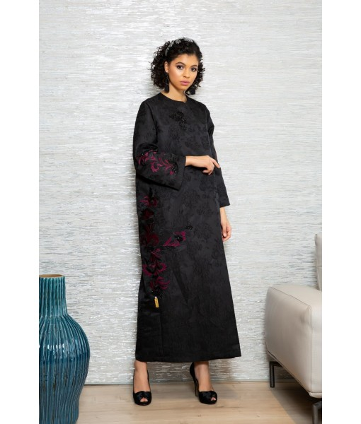 Black textured Jacquard abaya with beaded ...