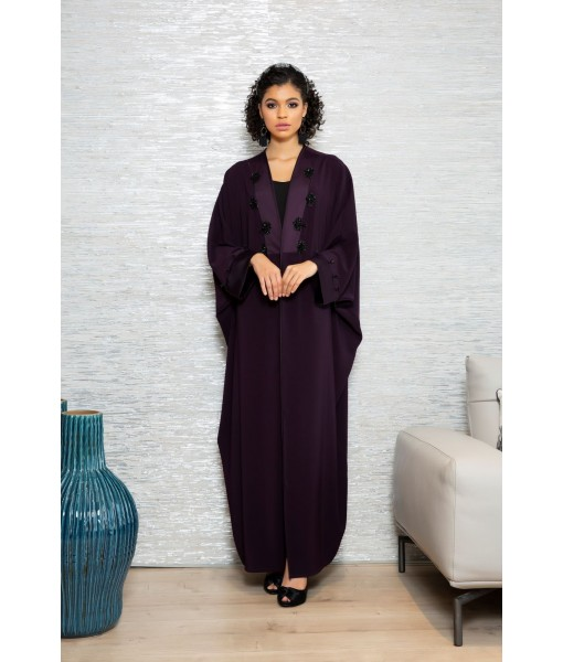 Plum farasha abaya with cut out ...