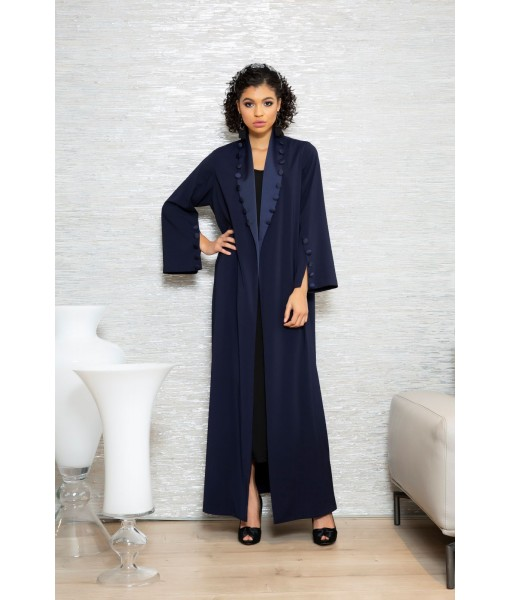 Navy Coat style abaya with button ...