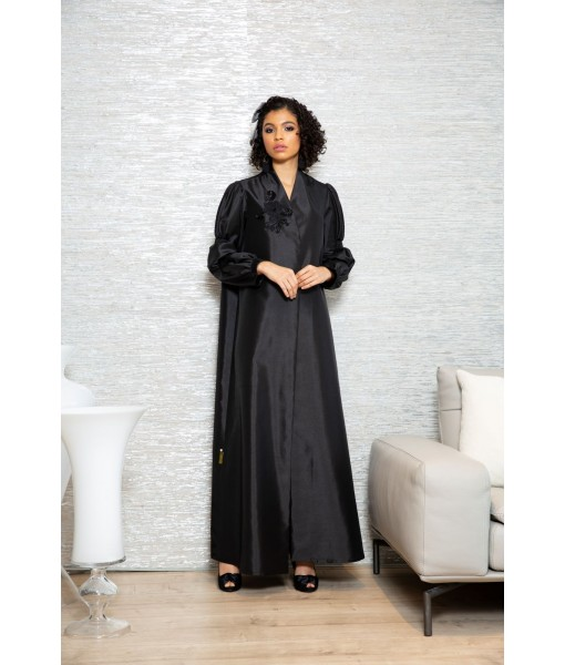 Classic black abaya with floral lace ...