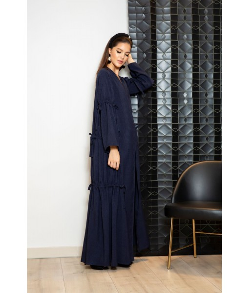 Navy textured linen Abaya with drawstring ...