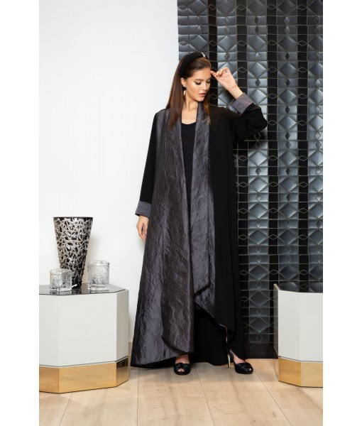 Black asymmetric hem abaya with rolled ...