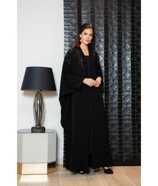 Black farasha abaya with sequin patch ...