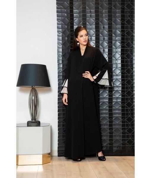 Black and white flared sleeves abaya ...