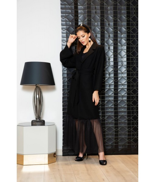 Black coat style abaya with gathered ...