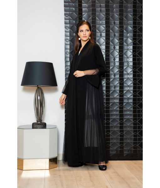 Black abaya with sheer tulle panels ...