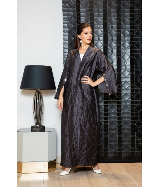 Lightweight crushed taffeta Abaya in dark ...