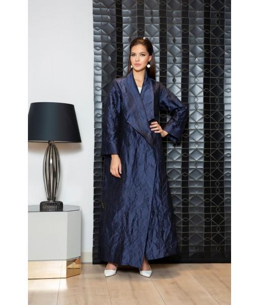 Navy coat style abaya in lightweight ...