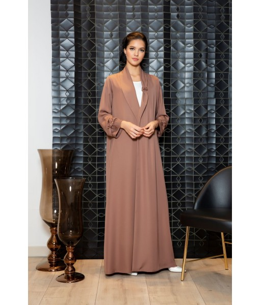 Knotted shawl collar abaya in mocha ...