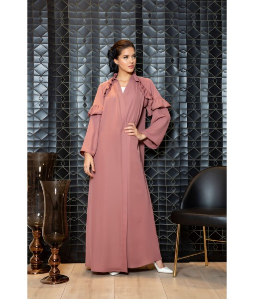Ruffle trimmed abaya in old rose ...