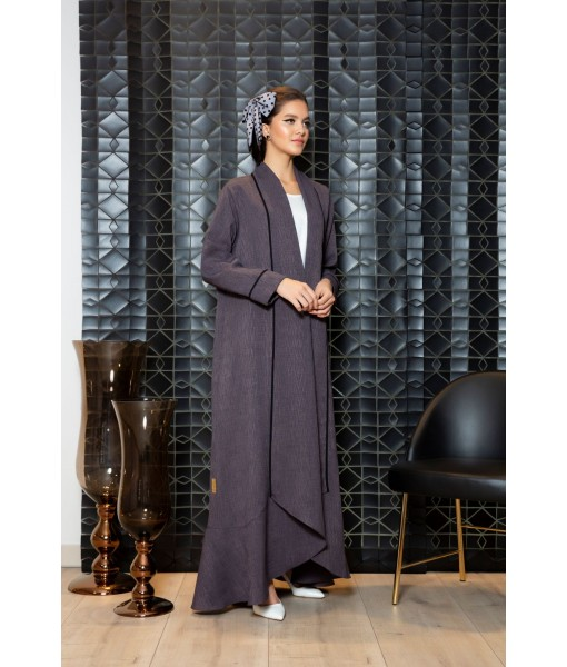 Grey linen rolled collar abaya with ...