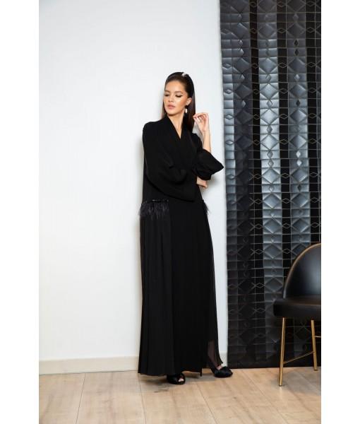 Classic black Abaya with pleated chiffon ...