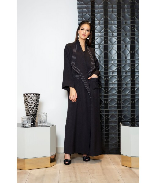 Black waterfall collar abaya with contrast ...