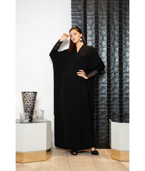 Black farasha abaya with gathered tulle ...
