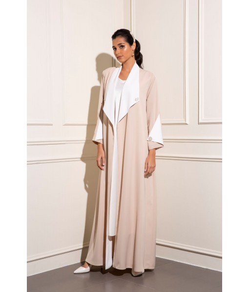 Lightweight collar contrast trim abaya with ...