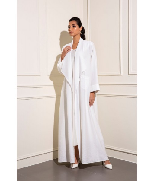 White oversized collar linen abaya ...