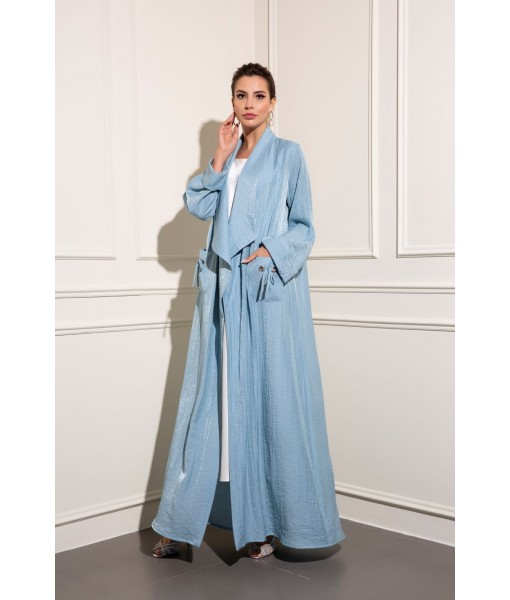 Light shimmer blue abaya with patch ...