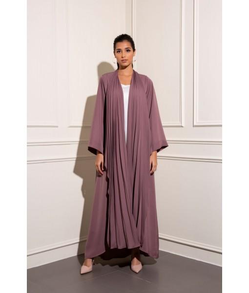 Pleated shawl collar abaya