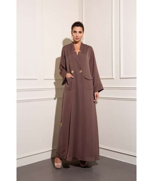 Inverted collar coat style brown abaya ...