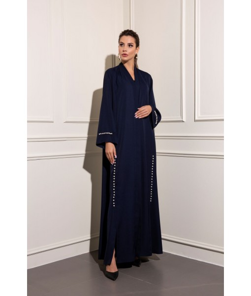 classic navy abaya with pearl details ...