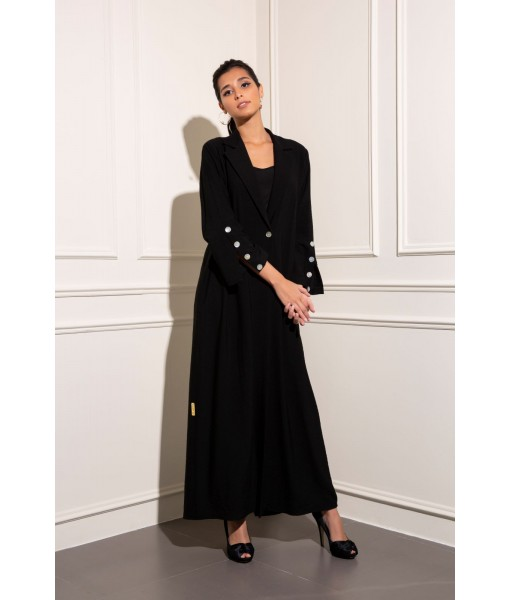 Coat style single-breasted Linen abaya with ...