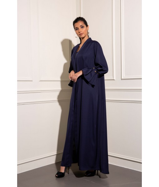 Classic navy abaya with pleated gold ...